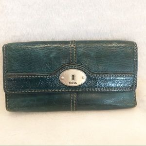 Fossil green wallet with patent leather trim